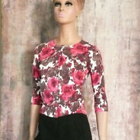Talbots Cotton Floral Print Pink Cardigan Sweater $99 Sz P Lovely Buttons