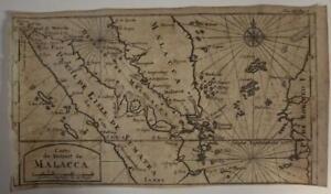 SINGAPORE MALAYSIA INDONESIA 1712 DAMPIER UNUSUAL ANTIQUE COPPER ENGRAVED MAP