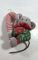 Christmas Mouse Plush Stuffed Toy Animal Candy Cane Holiday Decoration Display