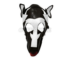 Puppy Play Dog Mask Black & White Leather with Removable Gag Muzzle