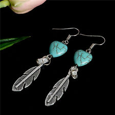 1 Pair Women Vintage Heart Turquoise Bead Feather Earrings Ear Hook Boho Jewelry