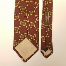 "Paul Stuart New York Flower Geometric Tie Hand Sewn Silk Made in USA 56"" x 3.5"""