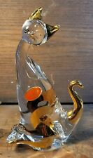 7\u201d tall in beautiful condition Murano glass golden cat made in Italy