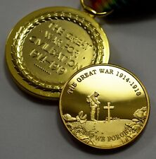 Collectable WW1 Great War Victory Medal & 24ct Gold Armistice Commemorative Set