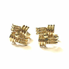 Gold Plated Easy Clip on 1cm Knot Design Earrings