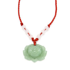 Natural Green Jade Lotus Pendant Necklace Lucky Charm Fashion