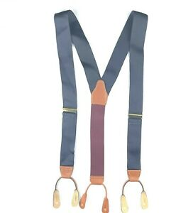 Brooks Brothers Mens Suspenders Braces Navy Blue Maroon Solid Brass Leather