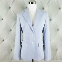 Brooks Brothers Womens 6 Seersucker Blazer Jacket Blue White Stripes NWT $248