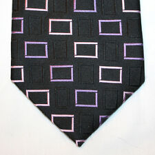 NEW Ertu Silk Neck Tie Black with Pink and Purple Squares Pattern 1272