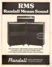RANDALL BASS GUITAR AMP PINUP AD vtg 70's head cabinet