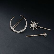 3 pcs Gold Plated Star Moon Crystal Studded Hair Clip/pins/Accessory (CC49-47)