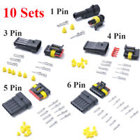 10 Sets 1-6 Pins Electrical Wire Connector Plug Waterproof Automotive Plug Kit