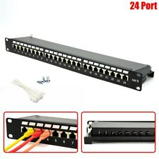 "24 Port Cat6 RJ45 Patch Panel Shielded 1U 19"" Rack Mount Network LAN Data Server"