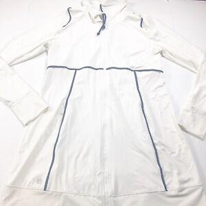Athleta Spinnaker Women's White Athletic Long Line Full Zip Jacket Pockets Large