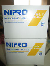 """Nipro 20G x 1 """" Hypodermic Needle - 2 Boxes of 100 Comes in Sterile Blister Pack"""
