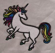 Embroidered Retro Mod Rainbow White Unicorn Fantasy Fairytales Patch Iron On USA