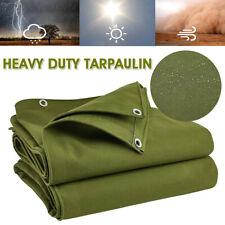 Waterproof  Canvas Tarp Heavy Duty Tarpaulin  Sun Rain Resistant Cover