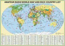 XXL 2019 radio amateur carte avec DXCC radio amateur préfixes Satin Papier UK de conservation