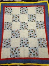 """Handmade """"Trains"""" 38 x 43 in Flannel Baby/Toddler Quilt"""