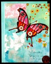 Beautiful Whimsical Pink  Butterfly Flowers - SMALL  Blank Note Card -NEW