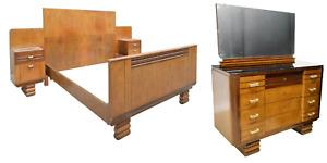 Antique Bedroom Set, Art Deco, Chest of Drawers, Bed, Nightstands, 1930's!