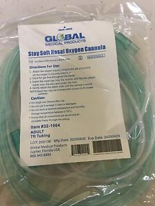 Global Medical Products 7FT Adult Sta-Soft Nasal Oxygen Cannulas - 3 PACK