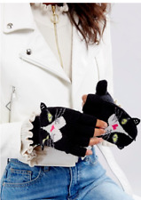 Yumi Ladies Fingerless Cat Gloves in Black ONE SIZE