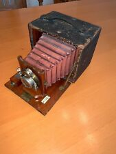 Rochester Optical 4x5 Premo B Wooden Camera w/ Orig. Red Bellows & Brass Lens