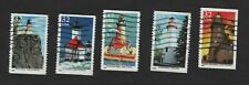 #2969-2973 Great Lakes Lighthouses, Used Set, 32 cent, Off Paper