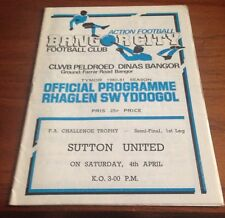 Bangor City v Sutton United - FA Challenge Trophy - 4/4/81 - Semi-Final 1st leg
