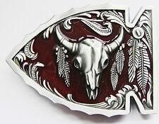 Red Arrowhead Bull Native American Wildlife Belt Buckle