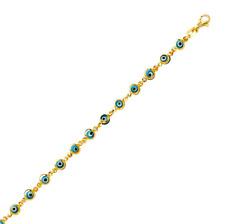 14K Solid Yellow Gold Blue Evil Eye Bracelet - Good Luck Charm Chain Link Women