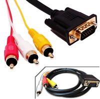 Cable monitor video VGA SVGA Macho a 3 RGB RCA macho 1,5M Proyector