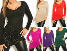 SeXy Miss Damen Long Pulli V Pullover asymmetrisch XS/S Steine strass gold TOP