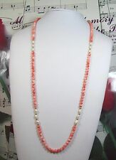 Genuine 5mm Natural Pink Coral With Freshwater Pearls Necklace 30 Inches. CN0023