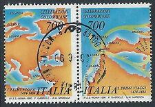 1990 ITALIA USATO DITTICO COLOMBO - PK-6