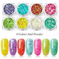8 Boxes Holographic Nail Glitter Powder Holo Chrome Mirror Dust Nail Art Pigment