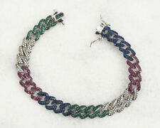 MIXED COLORS RUBY SAPPHIRE .925 SOLID STERLING SILVER BRACELET #59494