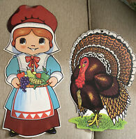 Vintage 2 Die Cut Thanksgiving Decorations Pilgrim & Turkey 70's