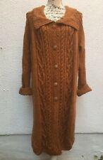 "Ladies Aran Coat Hand Knit XXL 56"" Long Orange Tweed Cable Freesize Button made"