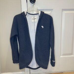 Abercrombie Kids Sweatshirt Open Front Cardigan Hoodie Youth 11/12 Blueish Gray