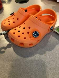 CLASSIC CROCS~Roomy~ CLOGS ~Neon Orange~ with Limited Edition Jobbitz NWT10/11