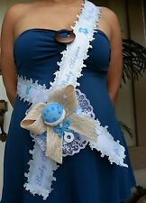 Baby Shower Mom To Be It's a Boy Sash Blue With Rattle, Ribbon and Corsage