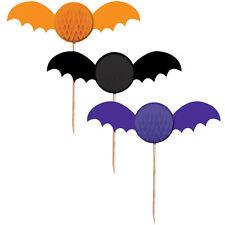 6 X Halloween Murciélagos Cupcake selecciones Vampiro Panal De Abeja 3d Bat Comida & Bebida selecciones