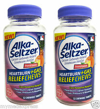 2 PACK Alka-Seltzer Heartburn Gas Relief Chewable Tablets 32ct 016500557968DT