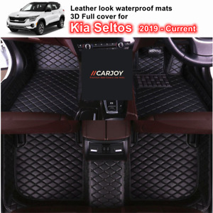 3D Moulded PU leather Waterproof Car Floor Mats for Kia Seltos 2019 - Current