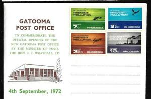 RHODESIA, 1972 PREVENT POLUTION FDC, WITH GATOOMA POST OFFICE OPENING, NO CANCEL