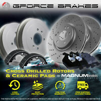 """F Drilled Rotors Pads & R Drums Shoes for 1992-1999 Chevy K1500 4WD w/ 10"""" Drum"""