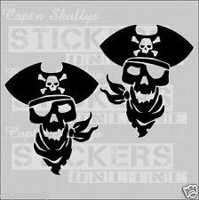 PIRATESKULL DECAL x2 130x110mm Capt'n Skullys Stickers Online MPN 2031 M/PURPOSE