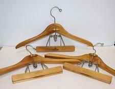Set of 3 Vintage Wooden Hangers w/ Pants Hanger Harmony House Stamped Metal Hook
